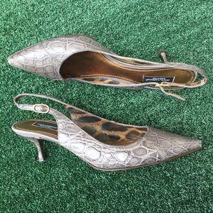 Dolce & Gabbana Grey Croc Embossed Sandals 8.5